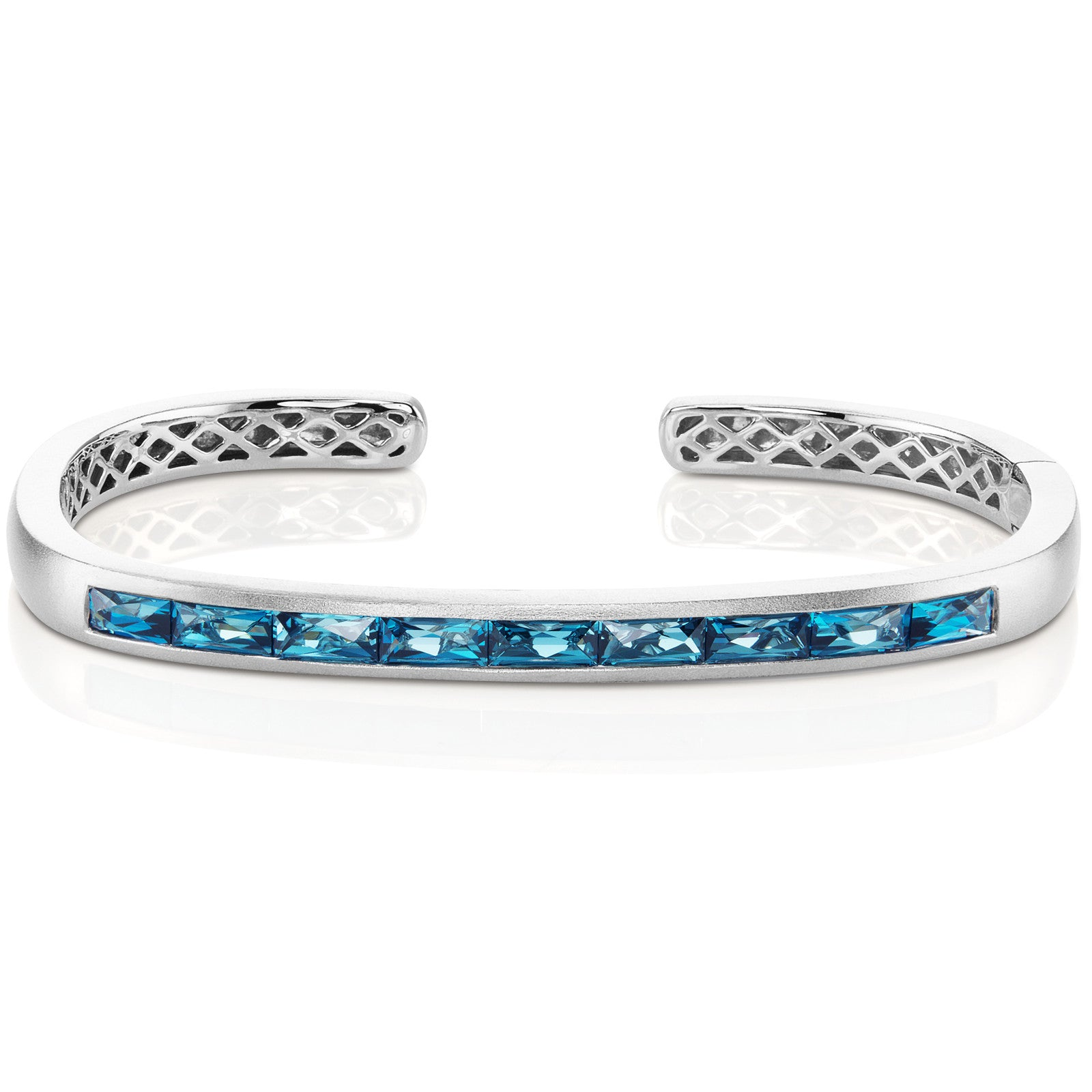 Jane Taylor Cirque Hinged Cuff London Blue Topaz Baguettes 14K White Gold