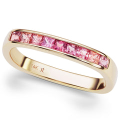 Jane Taylor Cirque Square Stackable Yellow Gold Ring with Pink & Orange Sapphires