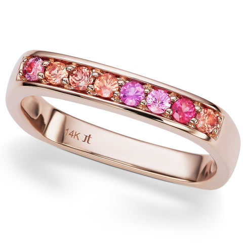 Jane Taylor Cirque Square Stackable Rose Gold Ring with Round Pink & Orange Sapphires
