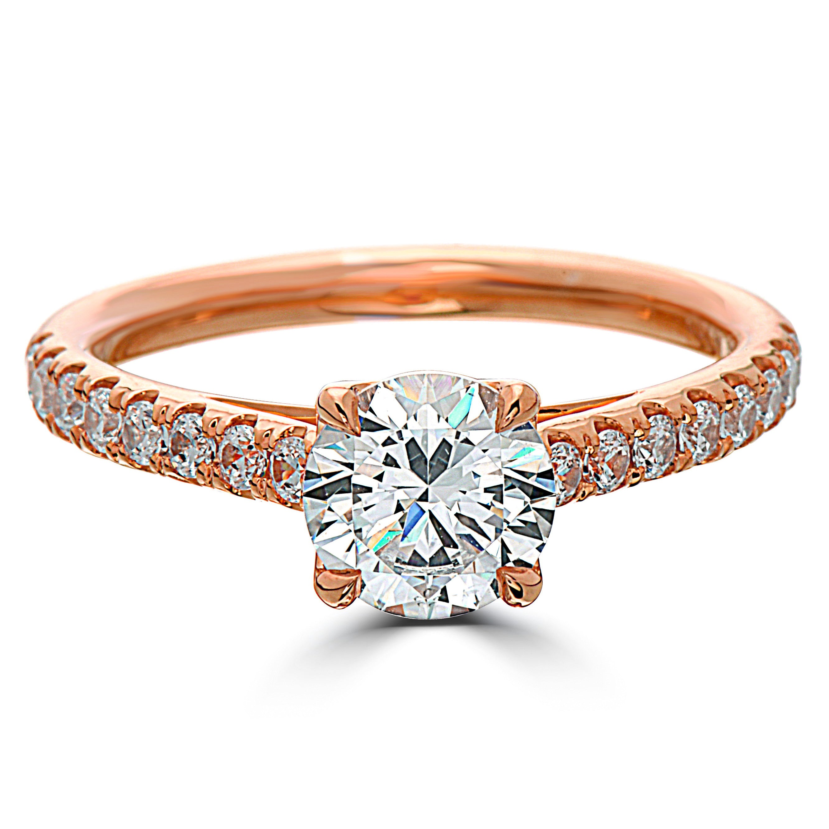Point Of Love Round Brilliant Diamond 18k Rose Gold Engagement Ring