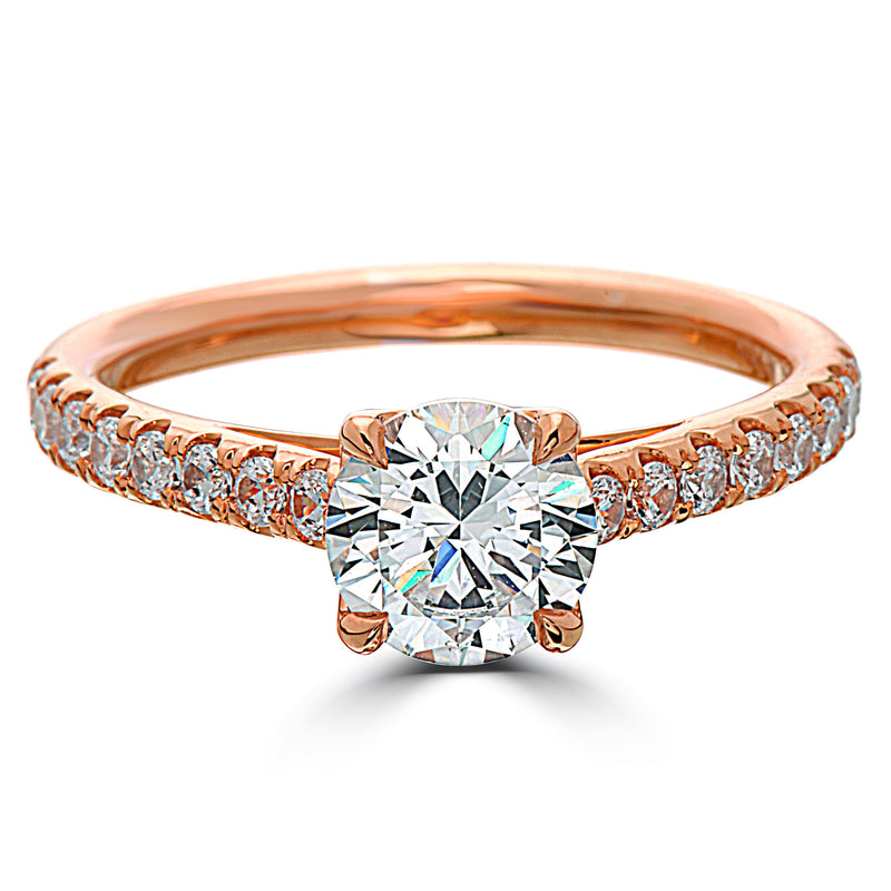 Point of Love Round Brilliant 1 Carat Diamond Shank 18K Rose Gold Engagement Ring