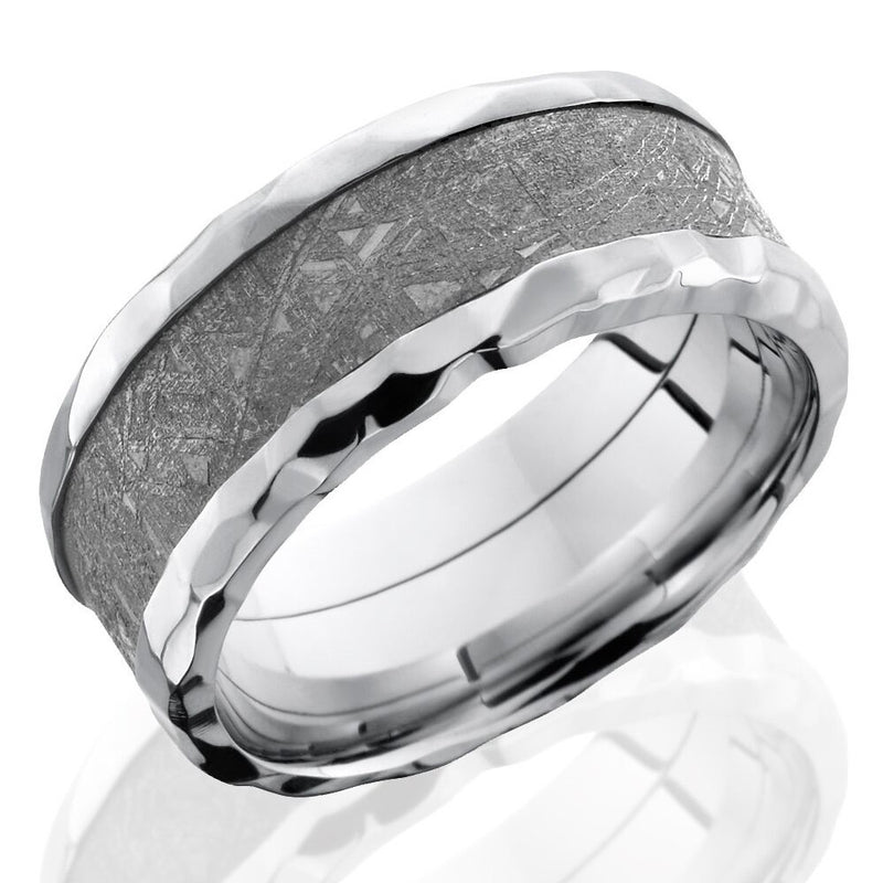 Lashbrook 9mm Cobalt Chrome Men's Flat Wedding Band Ring with Meteorite Inlay