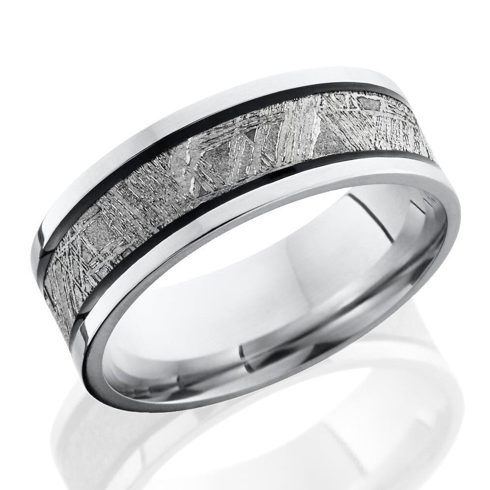 Lashbrook 7.5mm Cobalt Chrome Men's Flat Wedding Band Ring Meteorite Inlay
