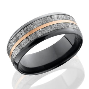 Lashbrook 8mm Black Zirconium Men's Flat Wedding Band Ring with Meteorite & Rose Gold