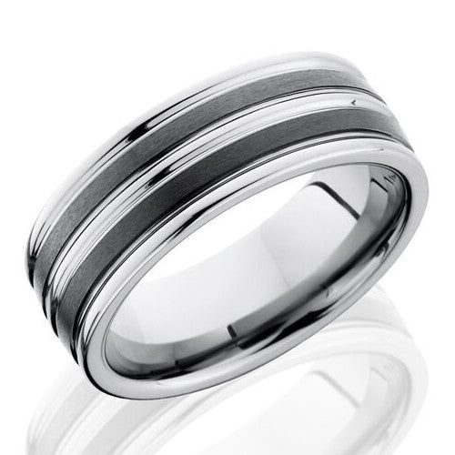 Lashbrook 8mm Ceramic & Tungsten Men's Flat Wedding Band Ring with Satin Finish