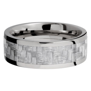 Lashbrook 8MM Titanium Men Wedding Band with a Silver Carbon Fiber Inlay