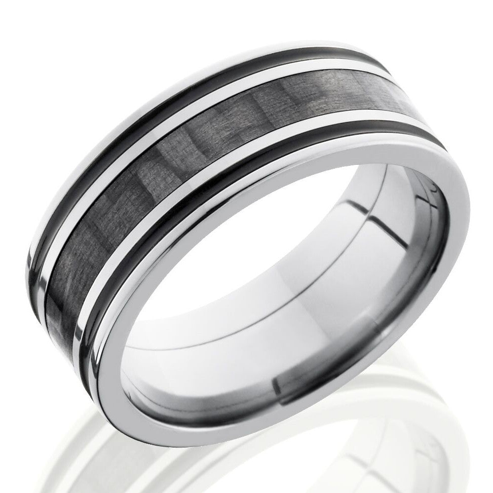 Lashbrook 8mm Titanium Men's Flat Wedding Band Ring with 3mm Carbon Fiber Inlay