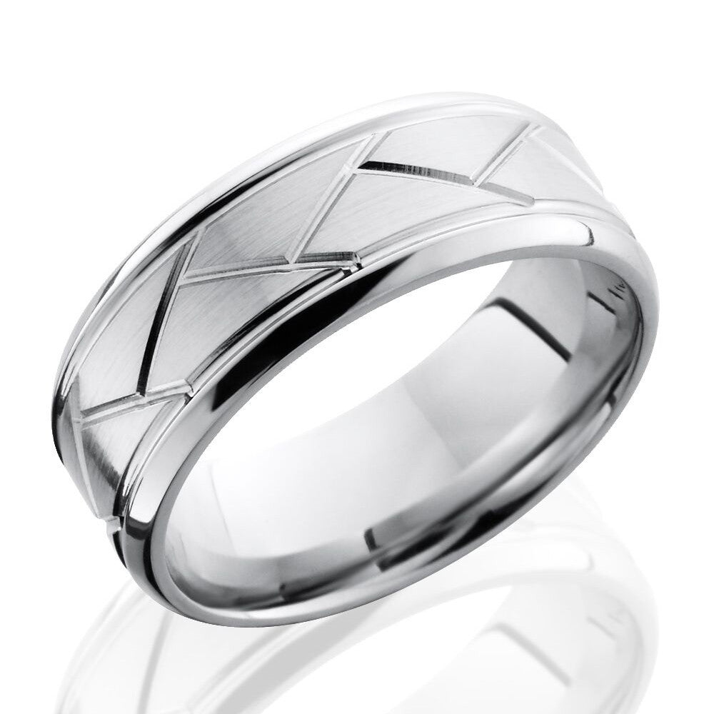 Lashbrook 8mm Cobalt Chrome Men's Flat Wedding Band Ring with Beveled Edges