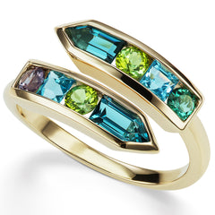 Jane Taylor Cirque Arrow Bypass Ring London Blue Topaz, Green Tourmaline in Rose Gold