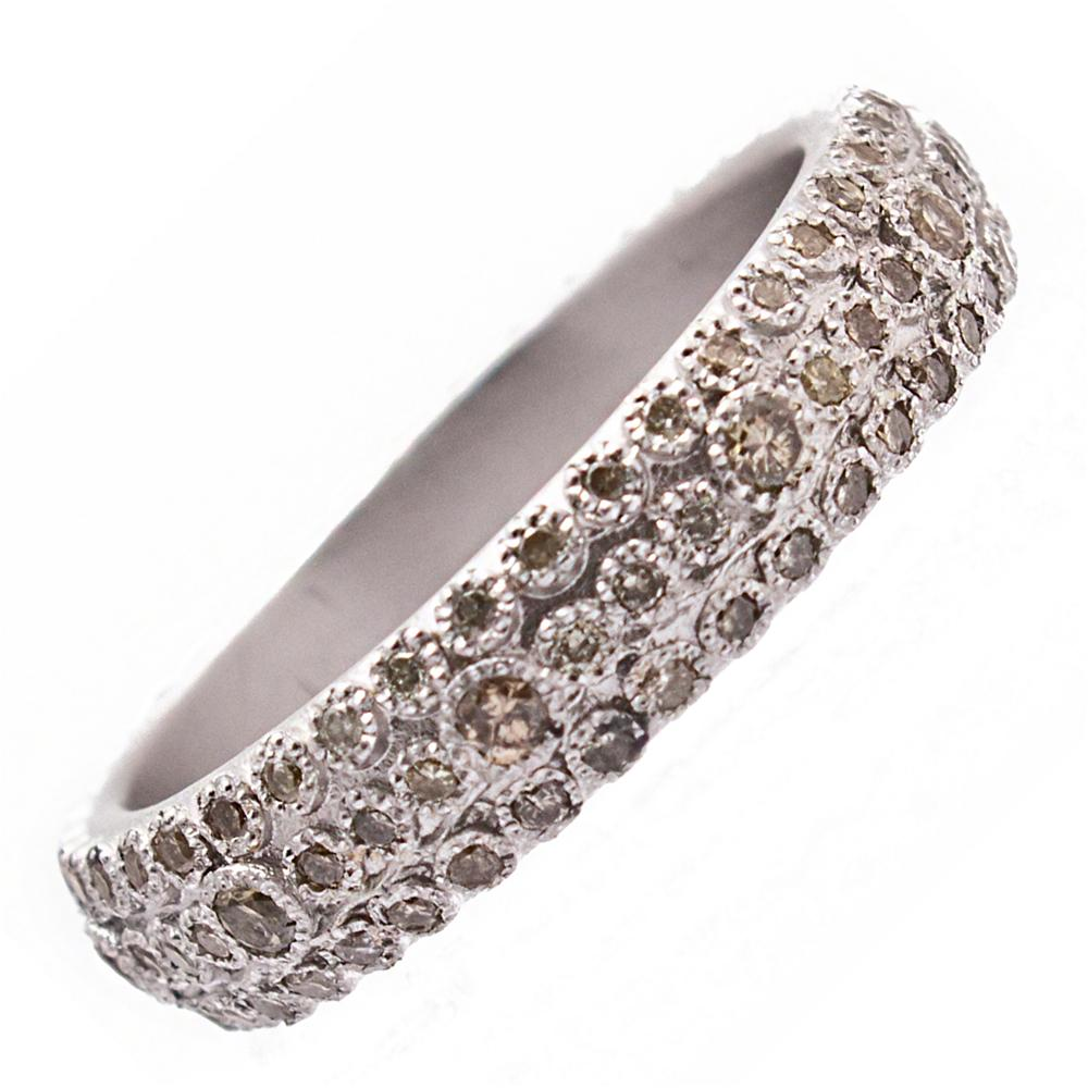 Armenta Multi Eternity Stackable Sterling Silver Diamond Ring