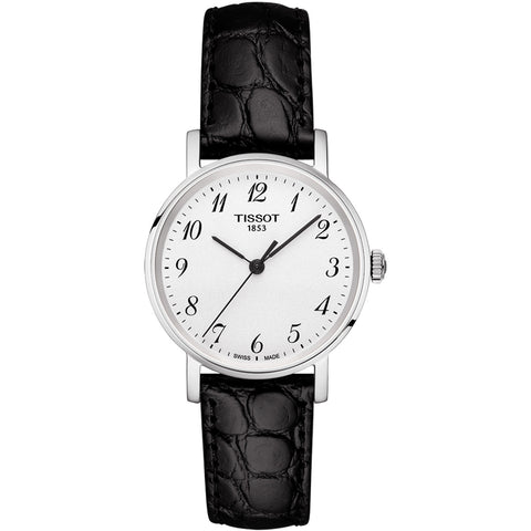 Tissot Ladies Everytime Quartz 30MM Black Leather Watch T1092101603200