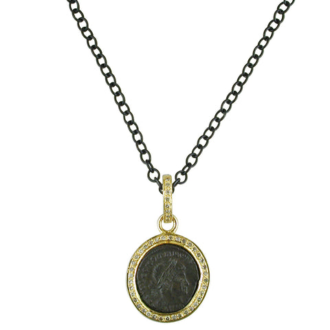"1884 Versilia ""Constantino II Period 337-340 A.D."" Original Bronze Roman Coin 18K Yellow Gold Pendant with Diamond Halo Necklace"