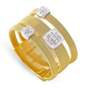 Marco Bicego Masai Three Strand Ring with Diamonds 18K Yellow Gold AG326 B1 YW