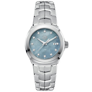 Tag Heuer Ladies Link White & Grey MOP Diamond Dial 32MM Quartz Watch WBC1313.BA0600