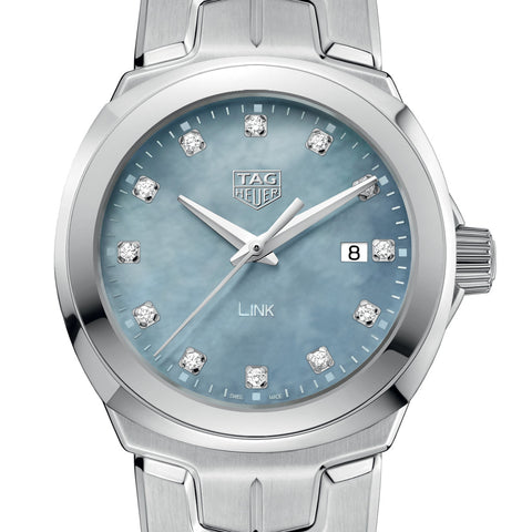 Tag Heuer Ladies Link White & Grey MOP Diamond Dial Quartz Watch WBC1313.BA0600