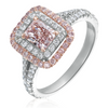 Fancy Pink Rectangle .76 Carat GIA Diamond Double Halo Platinum & 14K Engagement Ring