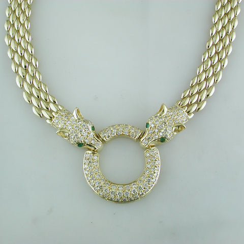 Vintage Estate 14K Yellow Gold Double Panther Necklace with Diamonds