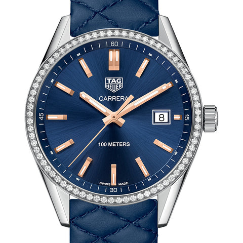 Tag Heuer womens watch Carrera Quartz Blue Dial & Quilted Leather Diamond Accent Watch 39MM WAR1114.FC6391 stamford darien