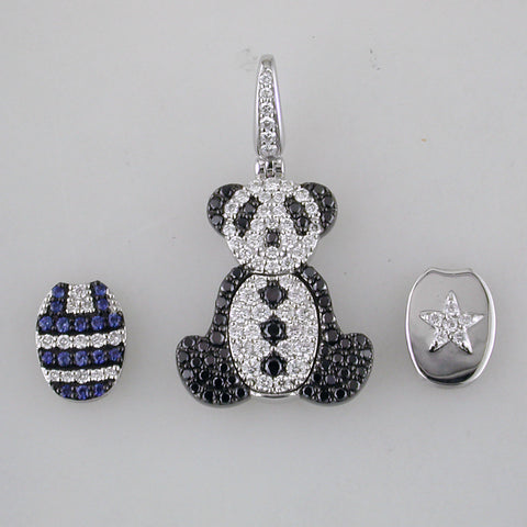 Qeelin Fashion Bo Bo Panda Bear Pendant Set Interchangeable Diamonds, Sapphires, Black Diamonds