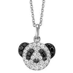 Qeelin Fashion Bo Bo Panda Bear Pendant Charm Necklace with Black Diamonds