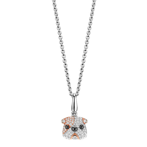 Qeelin WANG WANG Small Mario Bulldog Diamond Pendant Necklace 18K White & Rose Gold