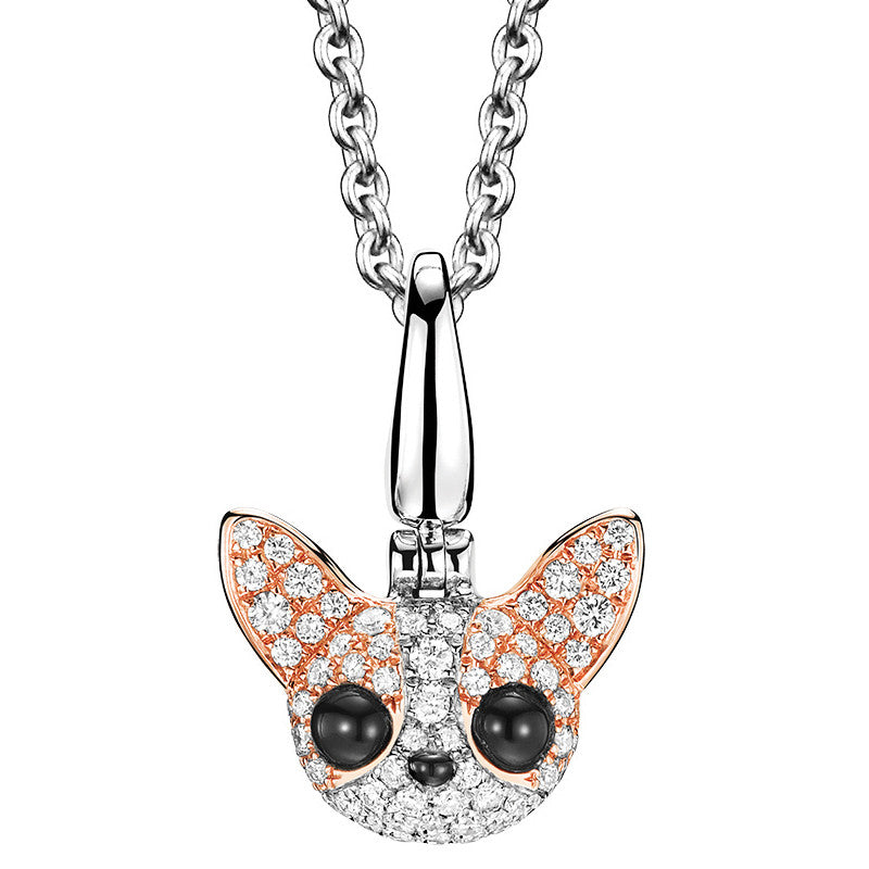 Qeelin WANG WANG Small Peekaboo Chihuahua Pendant Necklace 18K White Rose Gold Diamonds