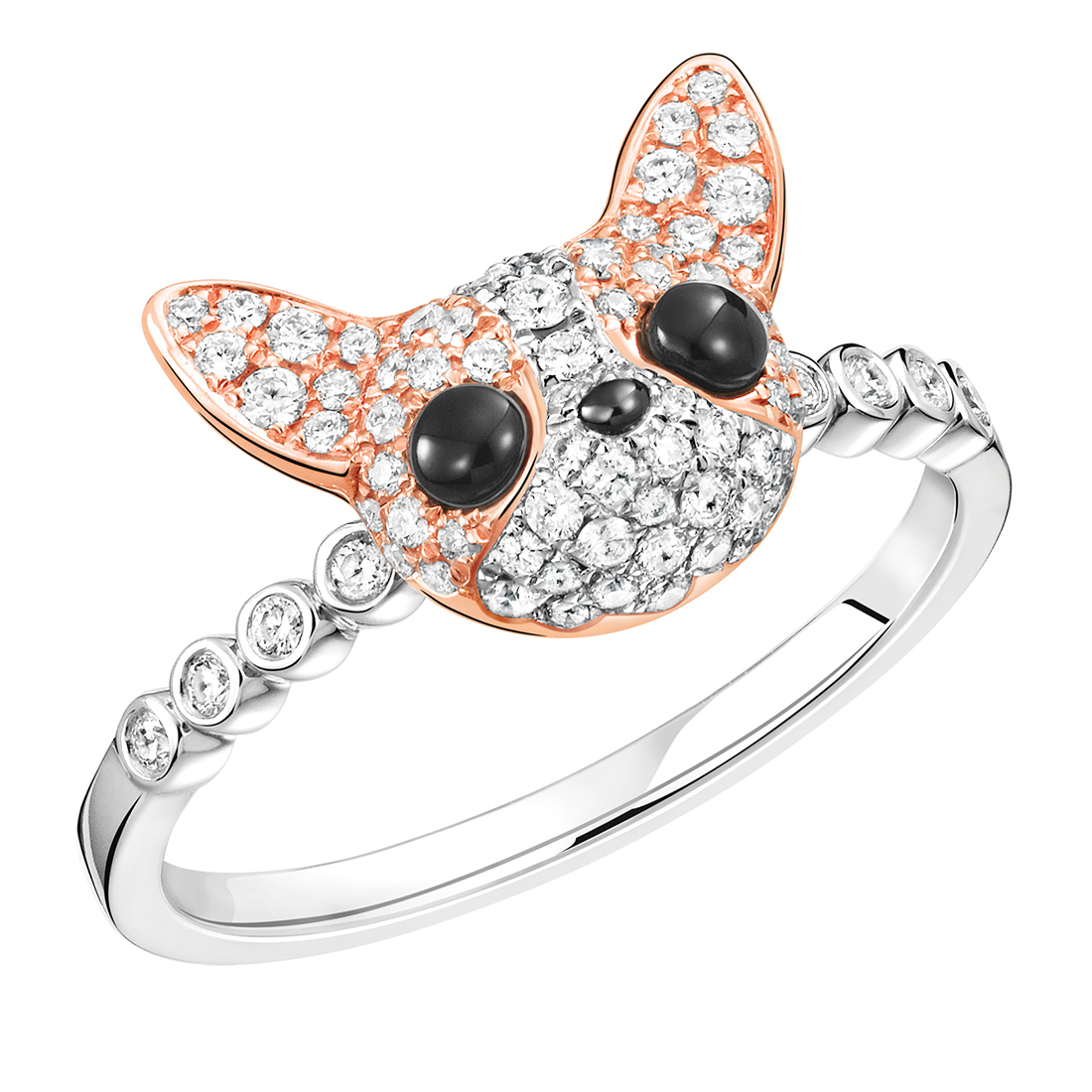 Qeelin WANG WANG Peekaboo Chihuahua 18K White & Rose Gold Diamond Ring