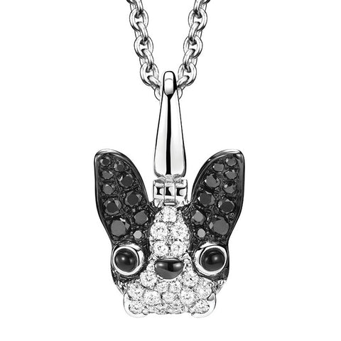 Qeelin WANG WANG Small Pierre French Bulldog Pendant Necklace White Gold Diamonds & Black Diamonds