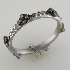 Armenta New World Cravelli Stackable Band Diamond Ring Oxidized Sterling Silver 08731