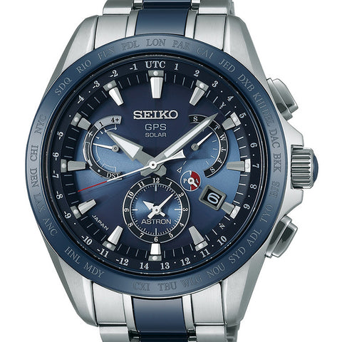Seiko Astron GPS Solar Dual Time Watch Titanium Blue Ceramic 45mm 8X53 SSE043