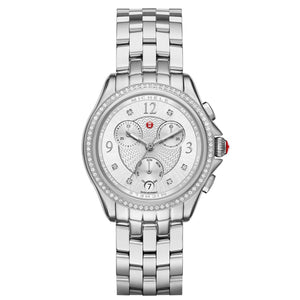 Michele Belmore Chronograph 37MM Diamond Dial and Stainless Steel Watch