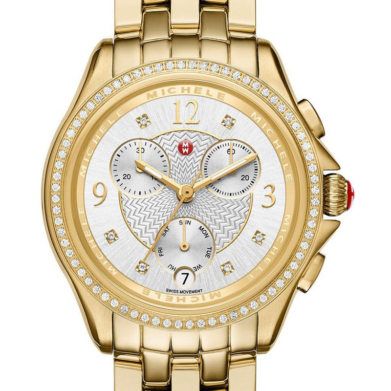 Michele Belmore Chronograph Diamond Dial Gold Case Watch