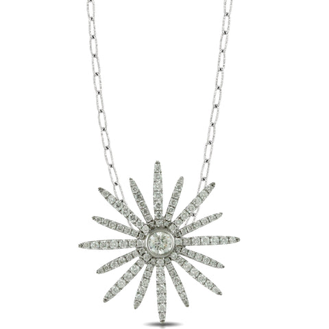 Doves Star Diamond 18K White Gold Pendant Necklace