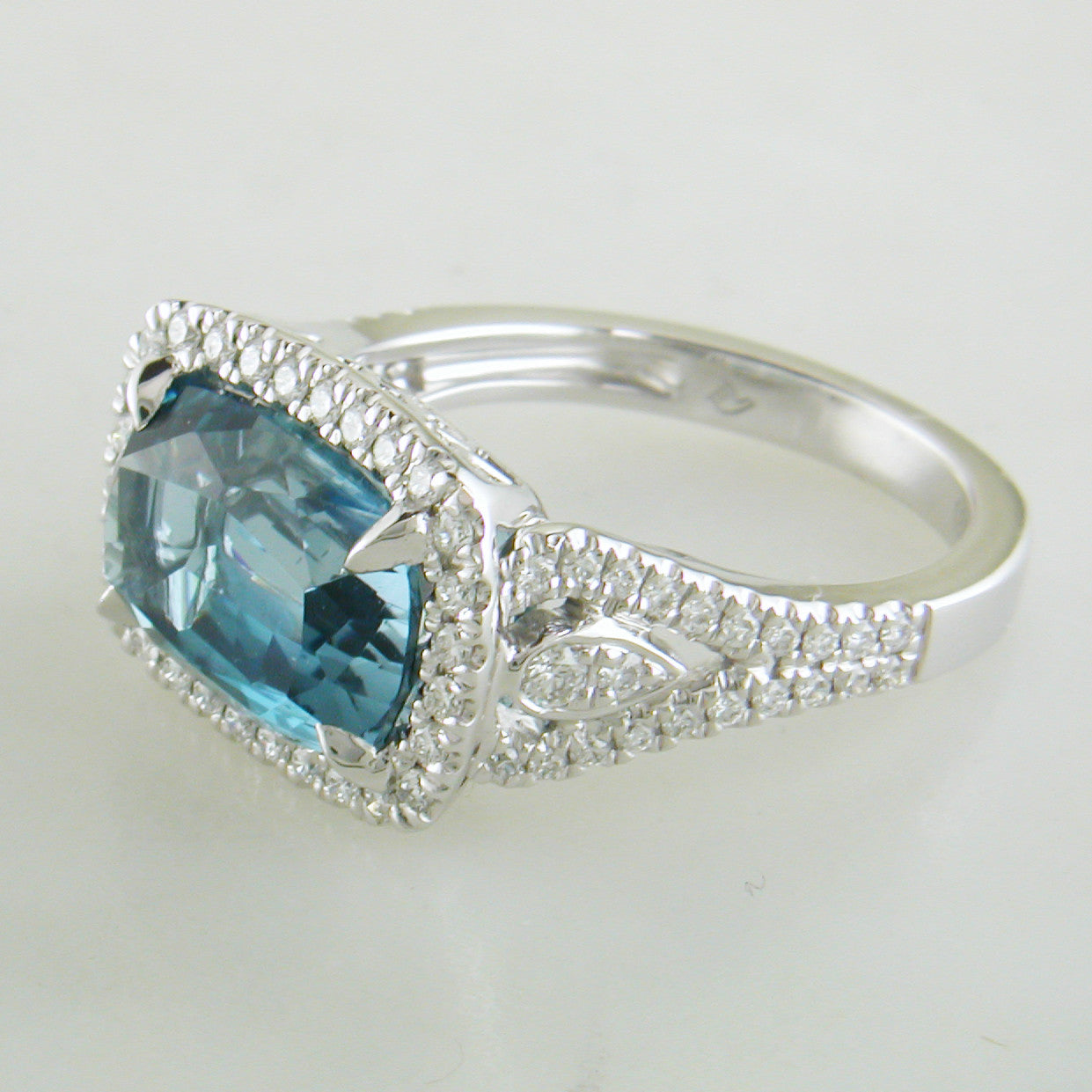 Doves London Blue Cushion Topaz Diamond Halo Rectangular Ring