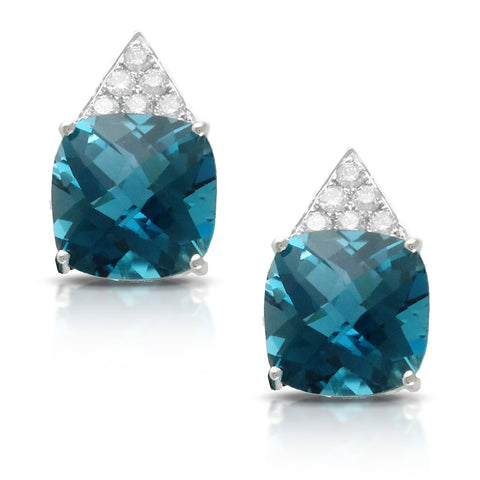 Doves London Blue Topaz Square Cushion & Diamond Stud Earrings