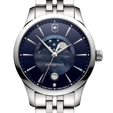 swiss army women's watch blue dial moon phase