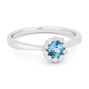 Madison L. Round Blue Topaz & Diamond Halo 14K White Gold Ring DR13027