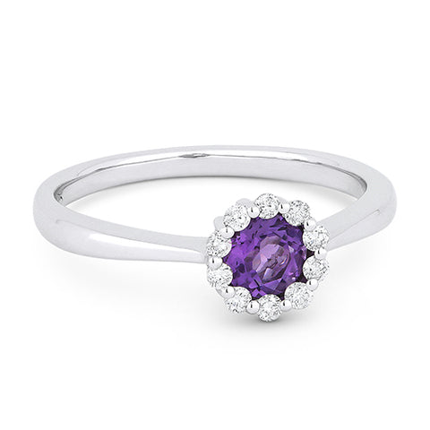 Madison L. Round Amethyst & Diamond Halo 14K White Gold Ring DR13061