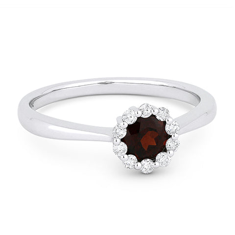 Madison L. Round Garnet & Diamond Halo 14K White Gold Ring DR13067