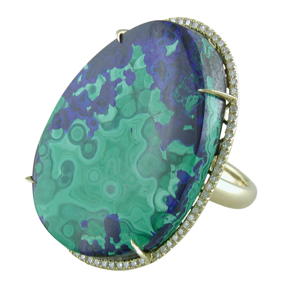 Antique Estate Oval Blue & Green Azurmalachite 18K Yellow Gold Ring with Diamond Halo
