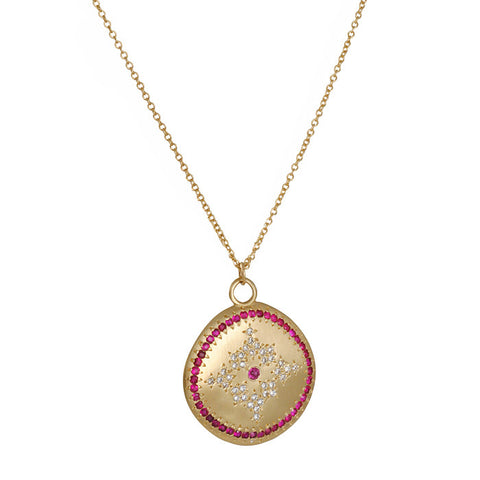 Adel Chefridi Medium Nostalgia Pendant Ruby Diamond Yellow Gold Coin Necklace