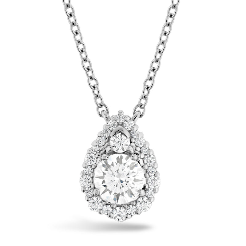Hearts on Fire 18k White Gold Teardrop Halo Diamond Pendant .40cts pear shape