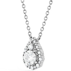 Hearts on Fire 18k White Gold Teardrop Halo Diamond Pendant side