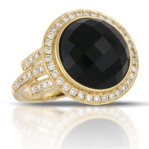 Doves Round Black Onyx 18K Yellow Gold Diamond Halo Ring cocktail