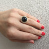 Doves Round Black Onyx 18K Yellow Gold Diamond Halo Ring right hand