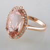 Doves Morganite 18K Pink Rose Gold Diamond Oval Halo Ring cocktail