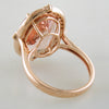 Doves Morganite 18K Pink Rose Gold Diamond Oval Halo Ring underside