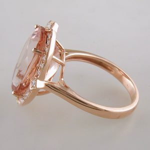 Doves Morganite 18K Pink Rose Gold Diamond Oval Halo Ring profile