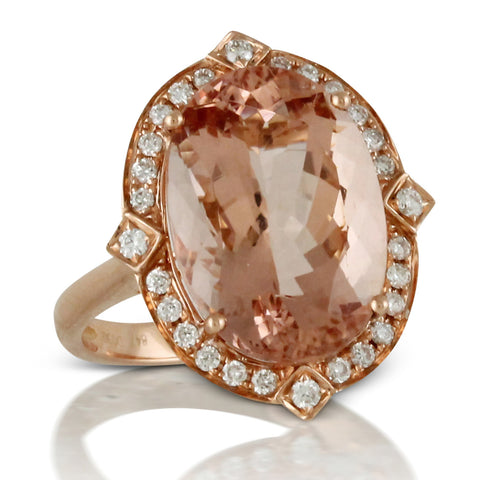 Doves Morganite 18K Pink Rose Gold Diamond Oval Halo Ring right hand