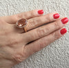 Doves Morganite 18K Pink Rose Gold Diamond Oval Halo Ring model